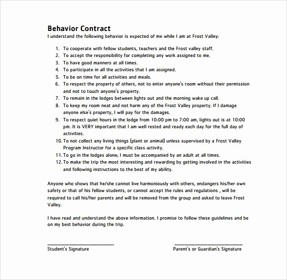 Behavior Contract Template for Adults Best Of Free 14 Behaviour Contract Templates In Pdf