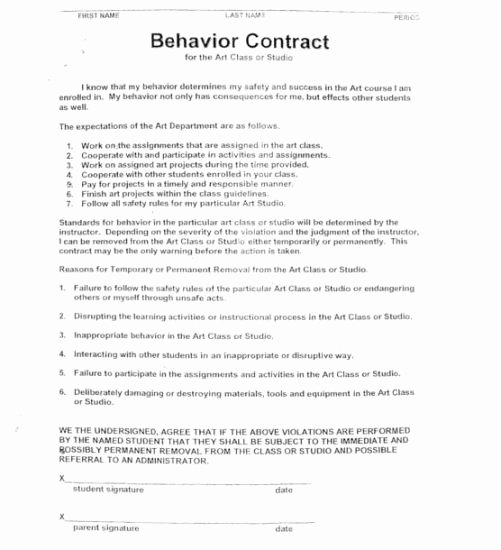 Behavior Contract Template for Adults Elegant 15 Best Of Worksheets Students Behavior Contract
