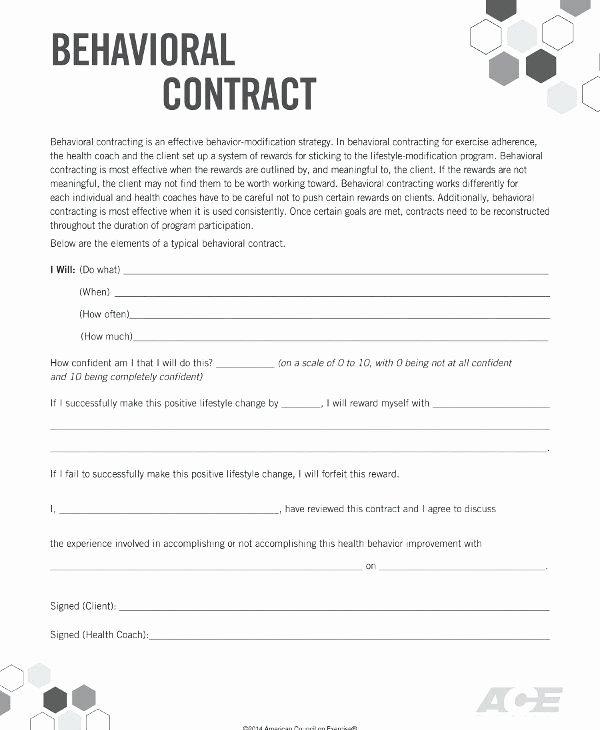 Behavior Contract Template for Adults Inspirational Behavior Contract Template for Adults