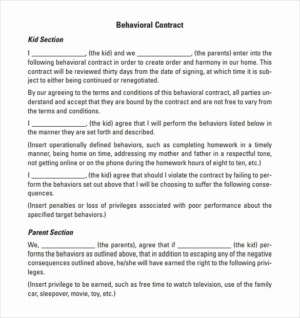 Behavior Contract Template for Adults Inspirational Behaviour Contract 19 Download Free Documents In Pdf Doc