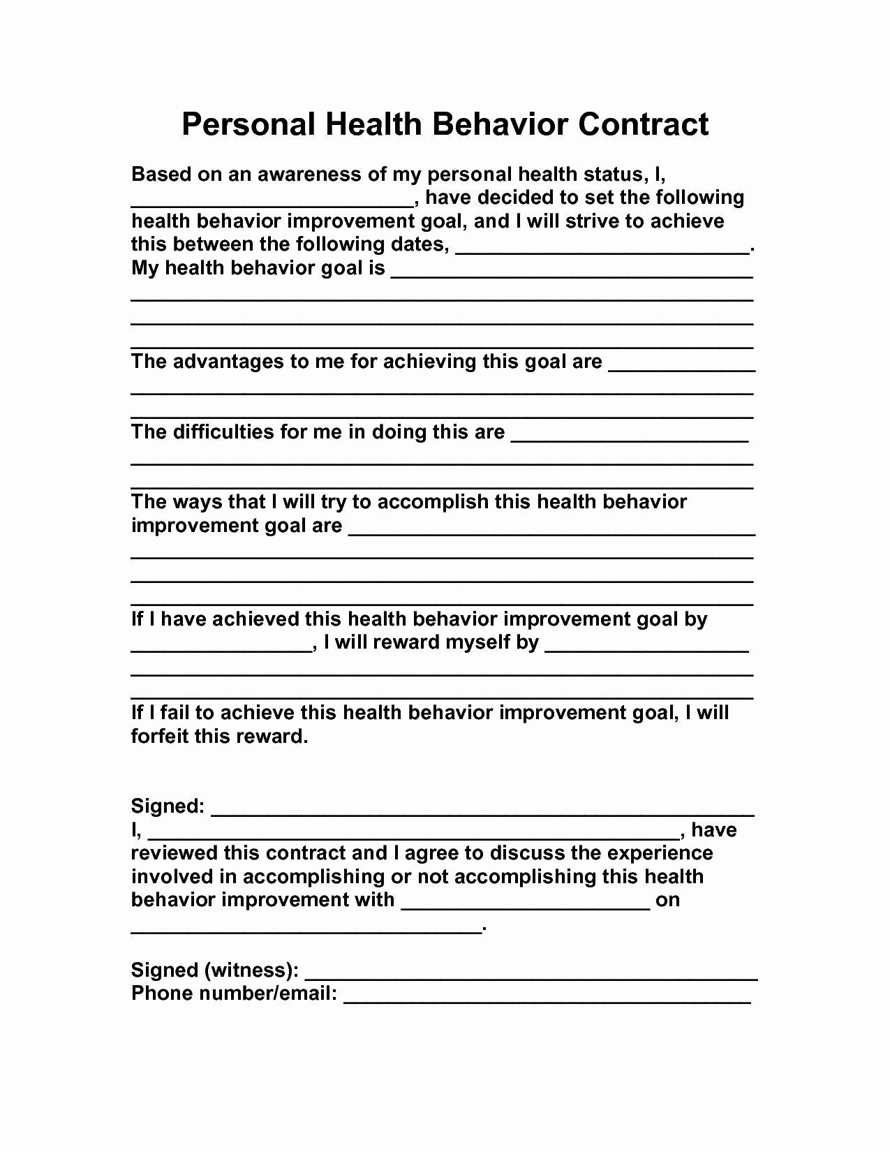 Behavior Contract Template for Adults Lovely 15 Best Of Behavior Change Contract Worksheet