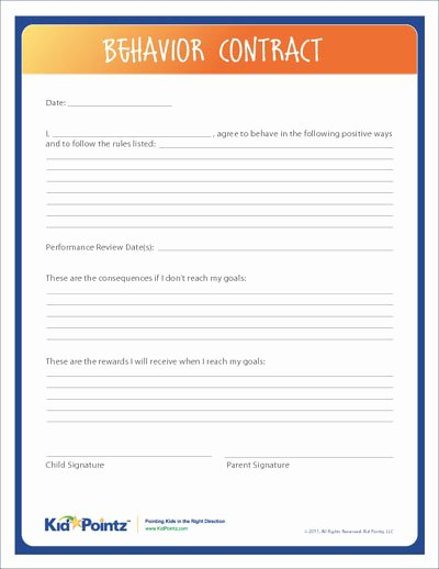 Behavior Contract Template for Adults Lovely Behavior Contract