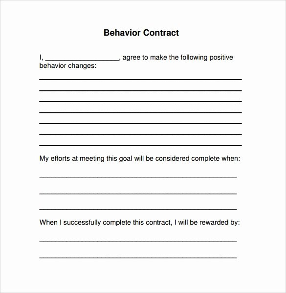 Behavior Contract Template for Adults Lovely Free 14 Behaviour Contract Templates In Pdf