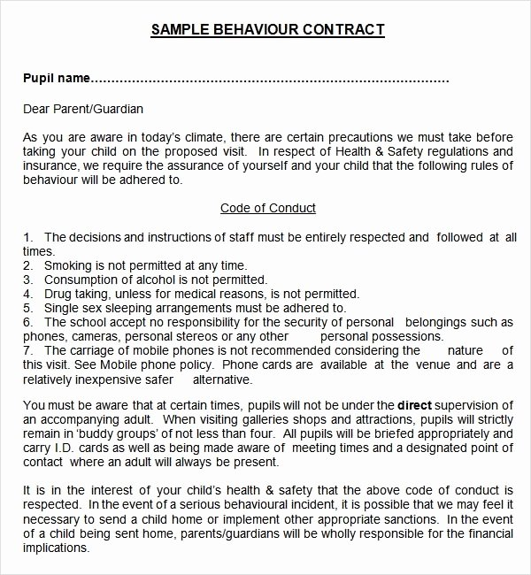 Behavior Contract Template for Adults Lovely Sample Behaviour Contract 15 Free Documents Download In