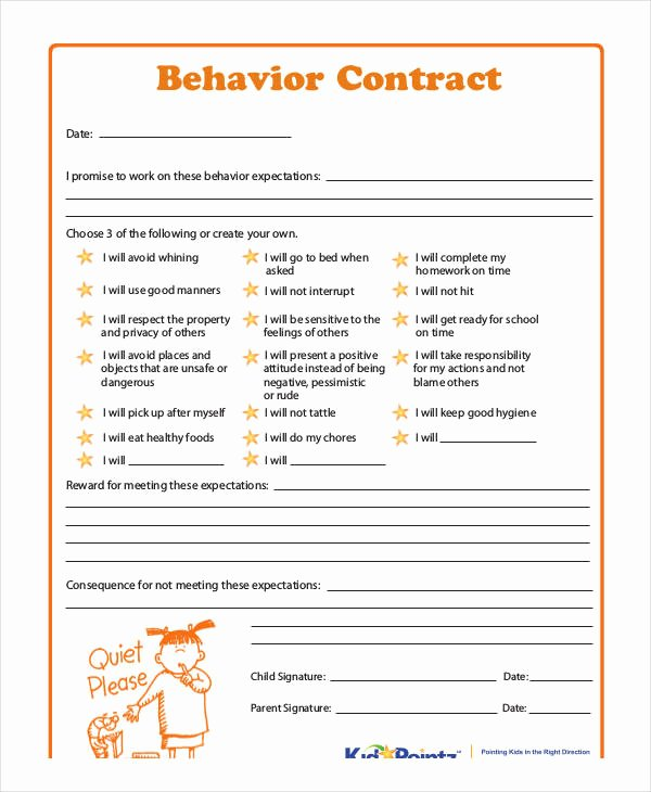 Behavior Contract Template for Adults New Behavior Contract Template
