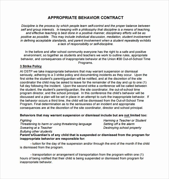 Behavior Contract Template for Adults New Free 14 Behaviour Contract Templates In Pdf