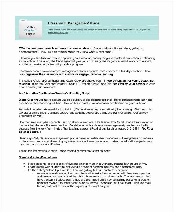 Behavior Management Plan Template Beautiful Sample Classroom Management Plan Template 12 Free