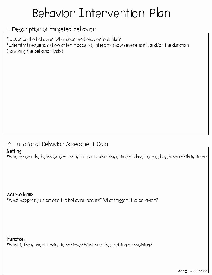 Behavior Management Plan Template Beautiful the Bender Bunch Creating A Behavior Intervention Plan Bip