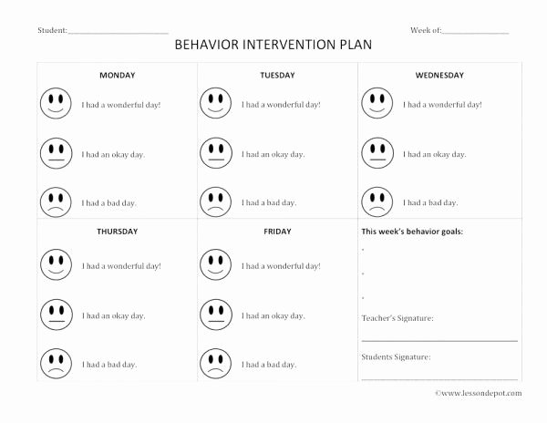Behavior Management Plan Template Best Of Behavior Intervention Lesson Plan Template
