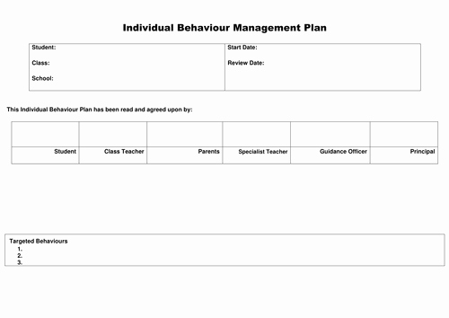 Behavior Management Plan Template Elegant Behaviour Management Plan by Lmtteacher