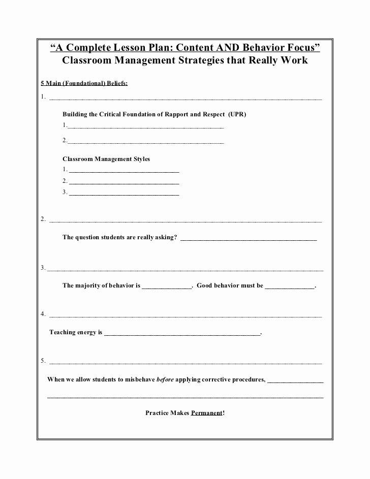 a plete lesson plan behavior and content focus