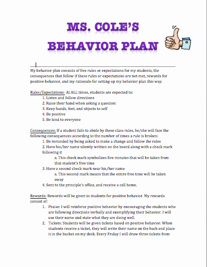 Behavior Management Plan Template Fresh H4