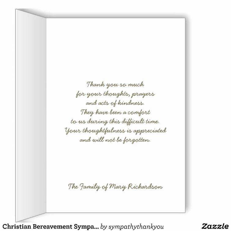 Bereavement Thank You Letter Beautiful Christian Bereavement Sympathy Thank You Card