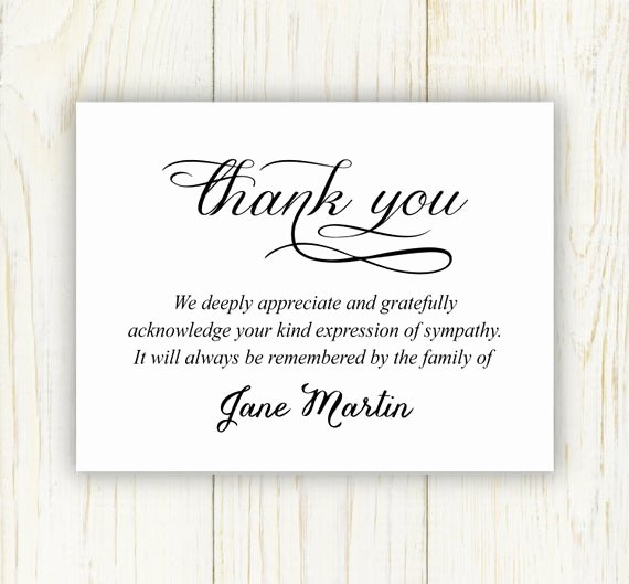 Bereavement Thank You Letter Inspirational Funeral Thank You Card Digital File Sympathy Thank You