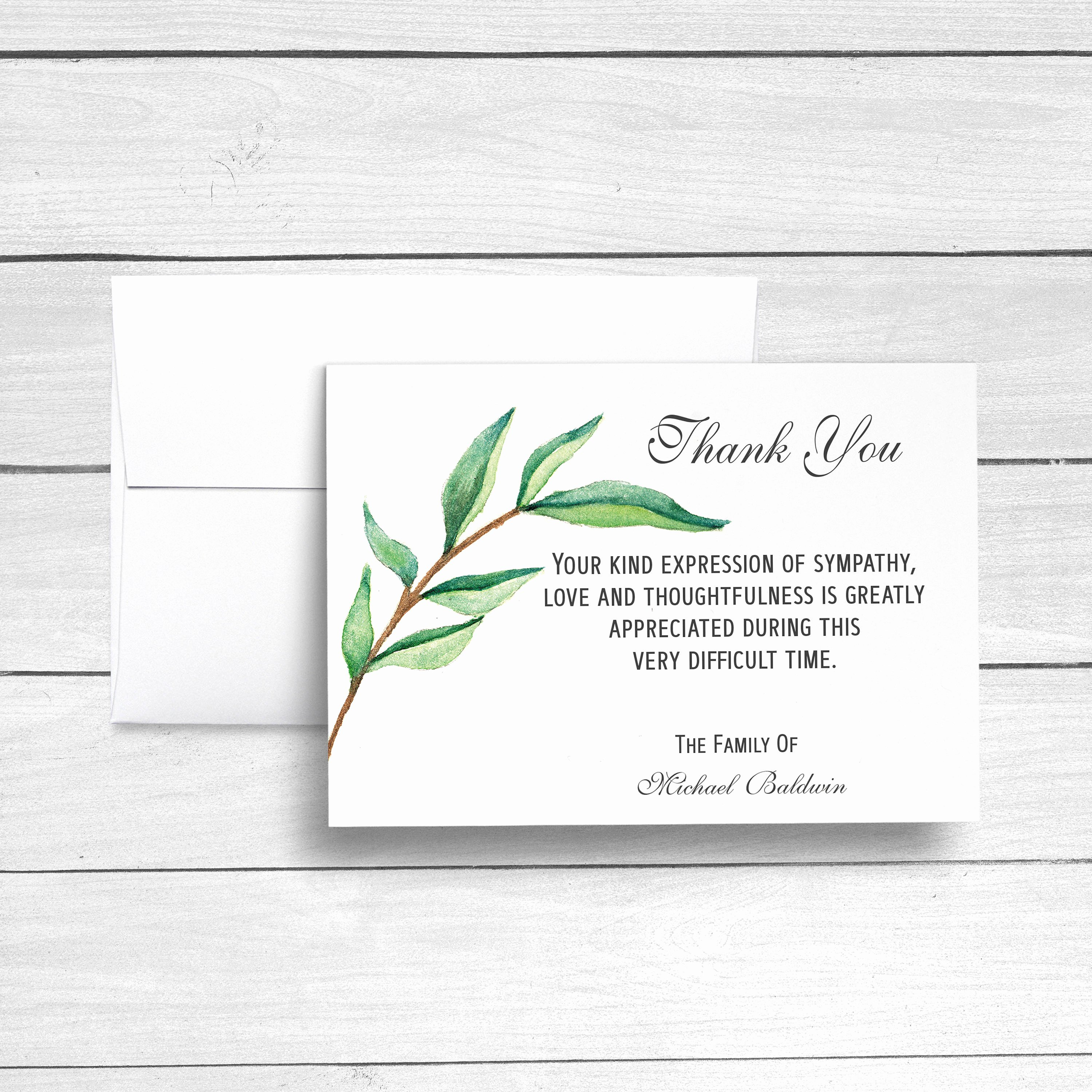Bereavement Thank You Letter Inspirational Funeral Thank You Cards Sympathy Acknowledgement Cards