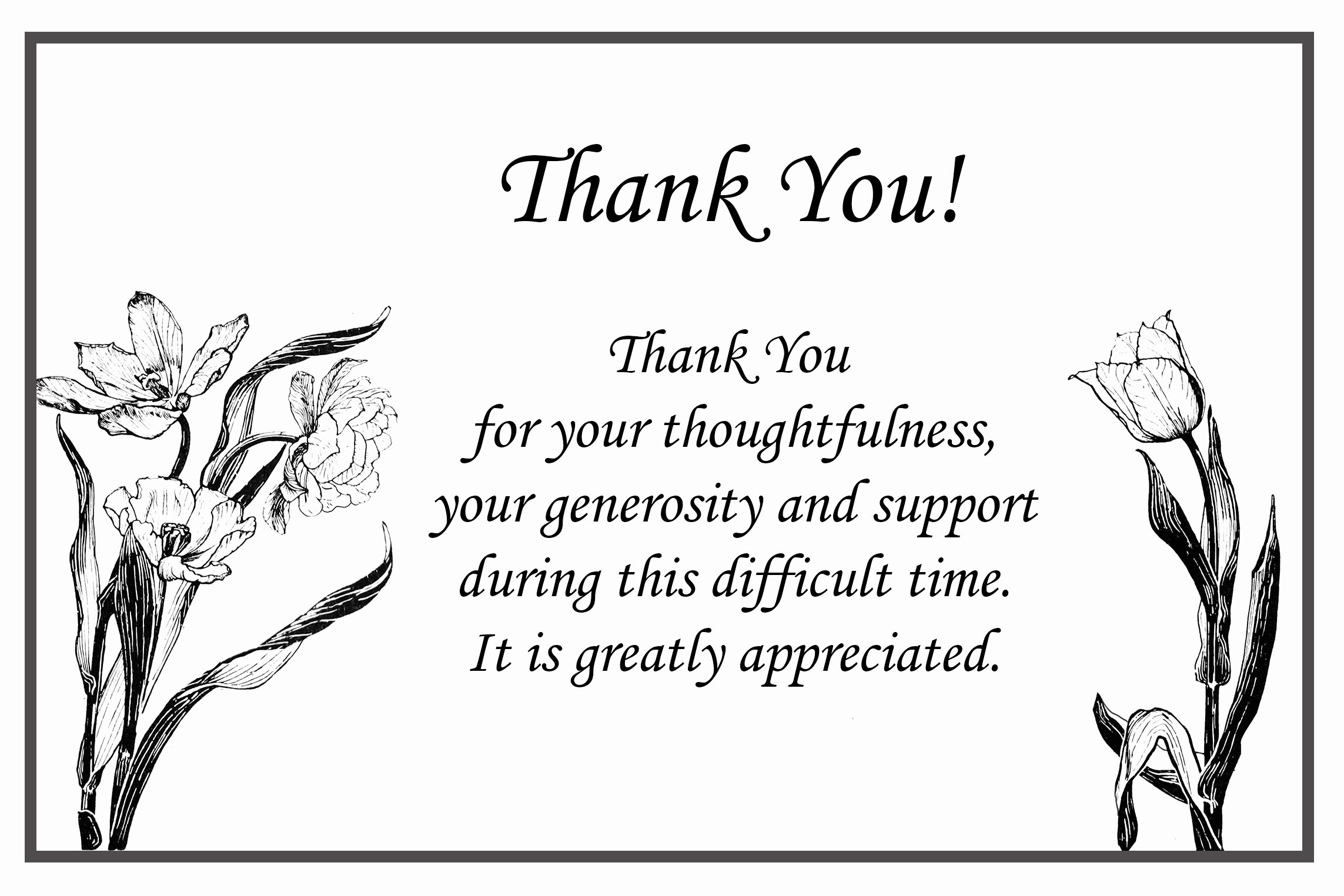 Bereavement Thank You Letter Inspirational Printable Thank You Cards – Free Printable Greeting Cards