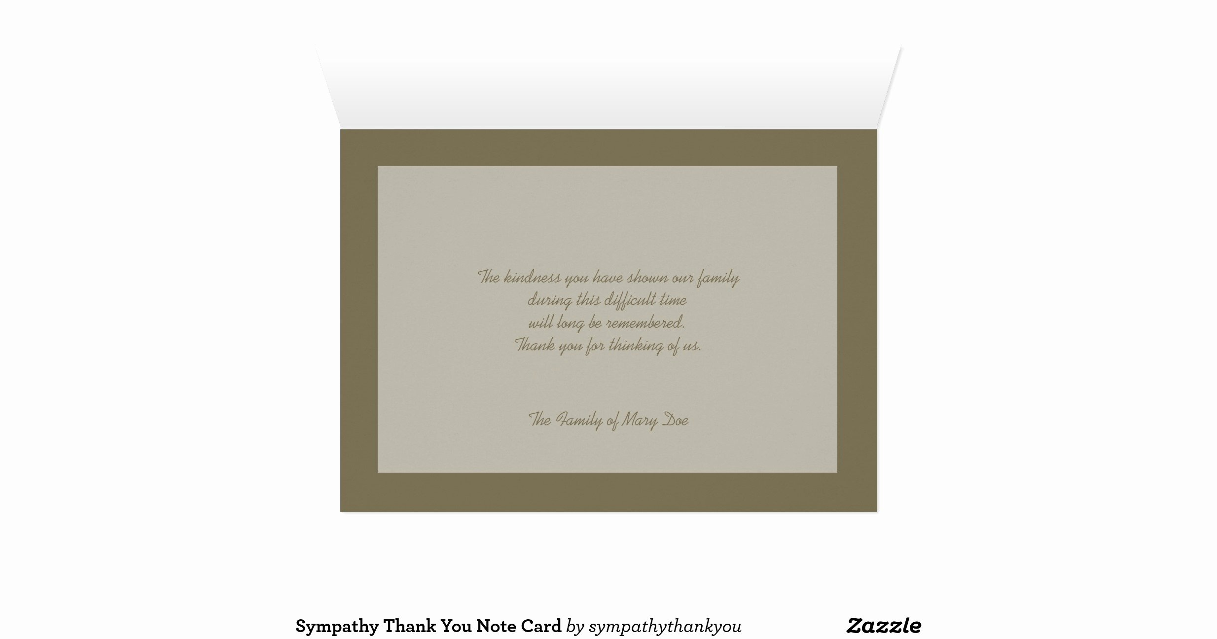 Bereavement Thank You Letter Inspirational Sympathy Thank You Note Card