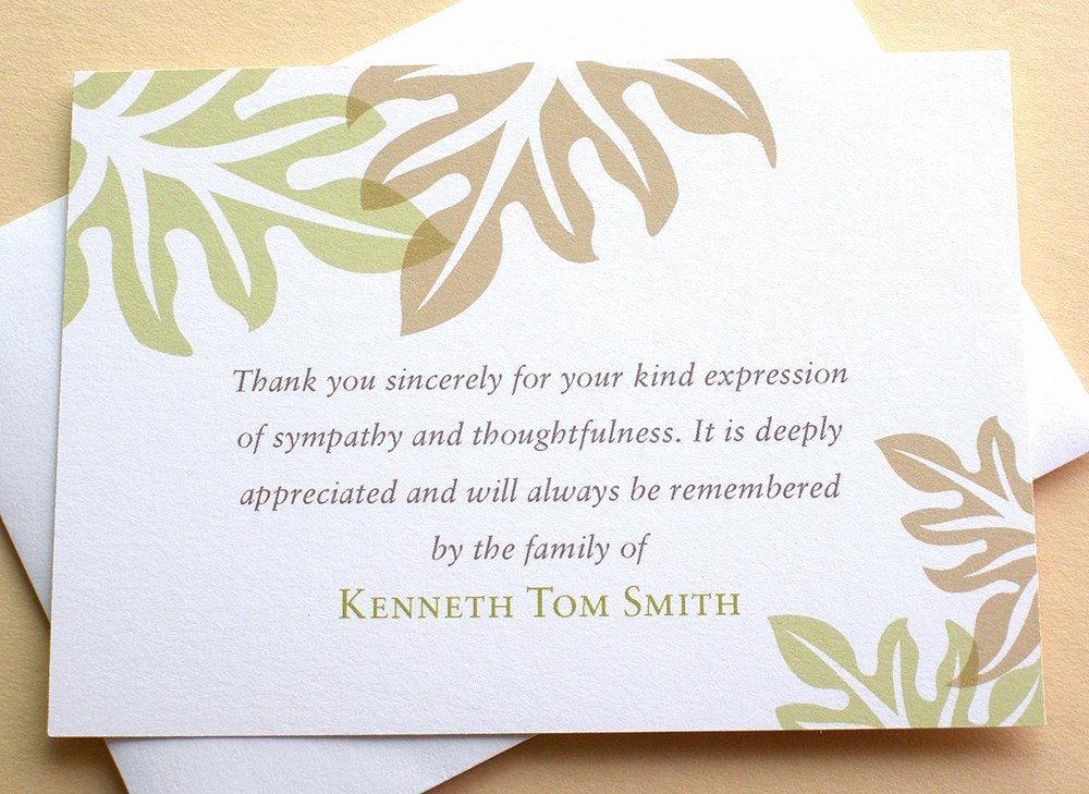 Bereavement Thank You Letter Lovely Sympathy Thank You Cards Brown and Green Leaves
