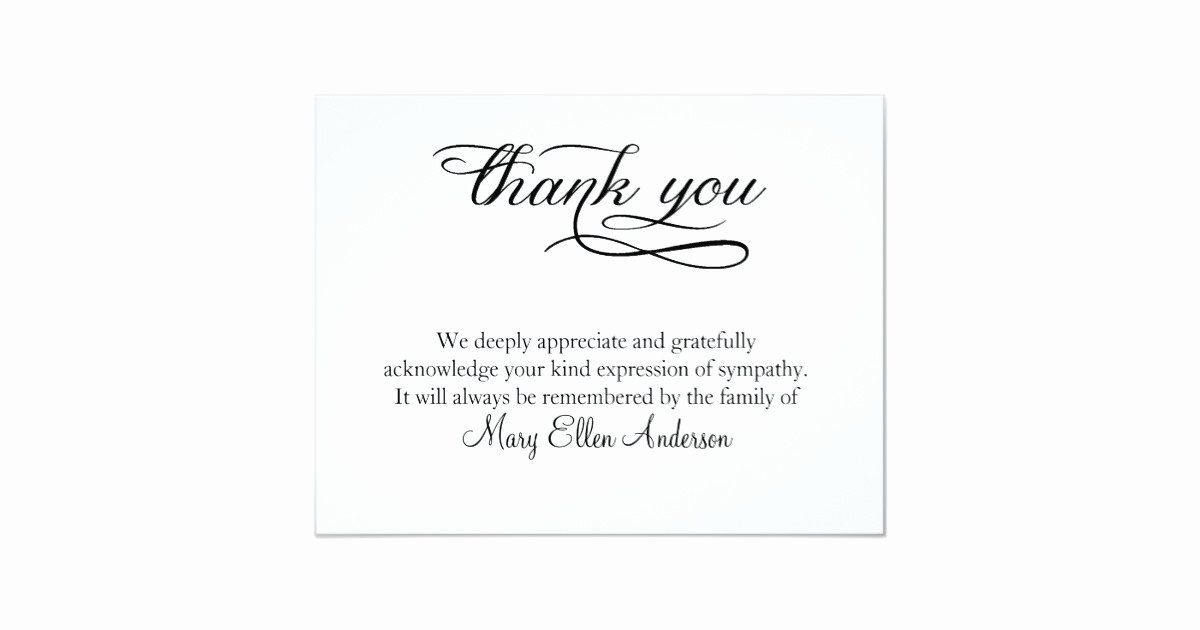 Bereavement Thank You Letter Luxury Thank You Funeral Thank You Note Card Behreavement
