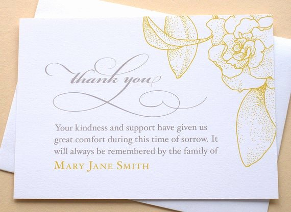 Bereavement Thank You Letter Unique English or Spanish Sympathy Thank You Cards with A Big Yellow