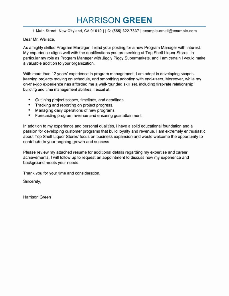 Best Cover Letter for Job Lovely Best Management Cover Letter Examples