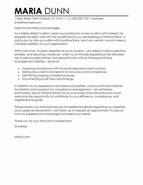 Best Cover Letter for Job Unique Auditor Samples Cover Letters