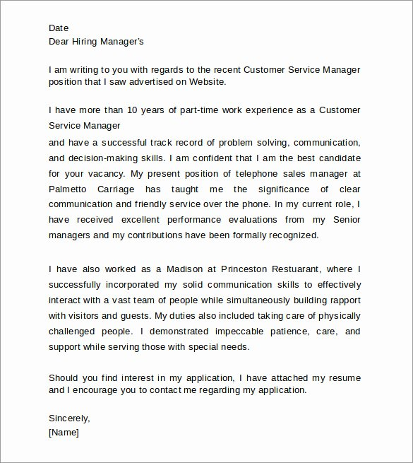 Best Customer Service Cover Letter Awesome Customer Service Cover Letters 8 Download Free