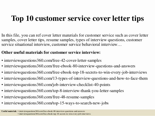 Best Customer Service Cover Letter Beautiful top 10 Customer Service Cover Letter Tips