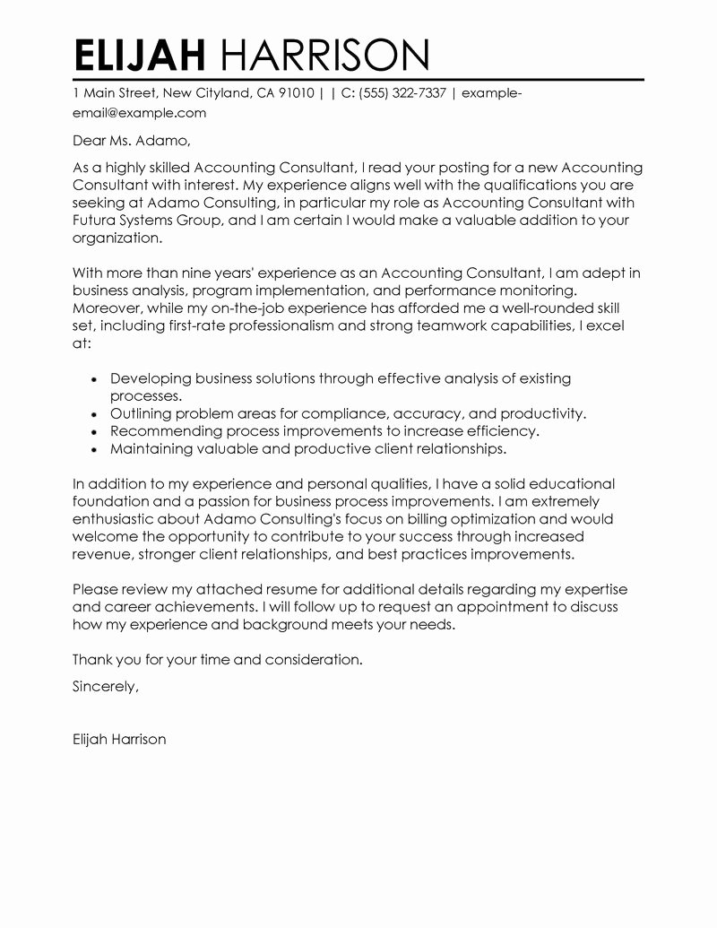 Best Job Cover Letter Awesome Best Consultant Cover Letter Examples
