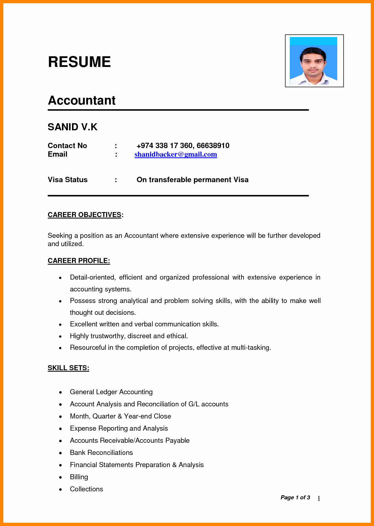 Best Resume format Awesome 7 Cv format Pdf Indian Style