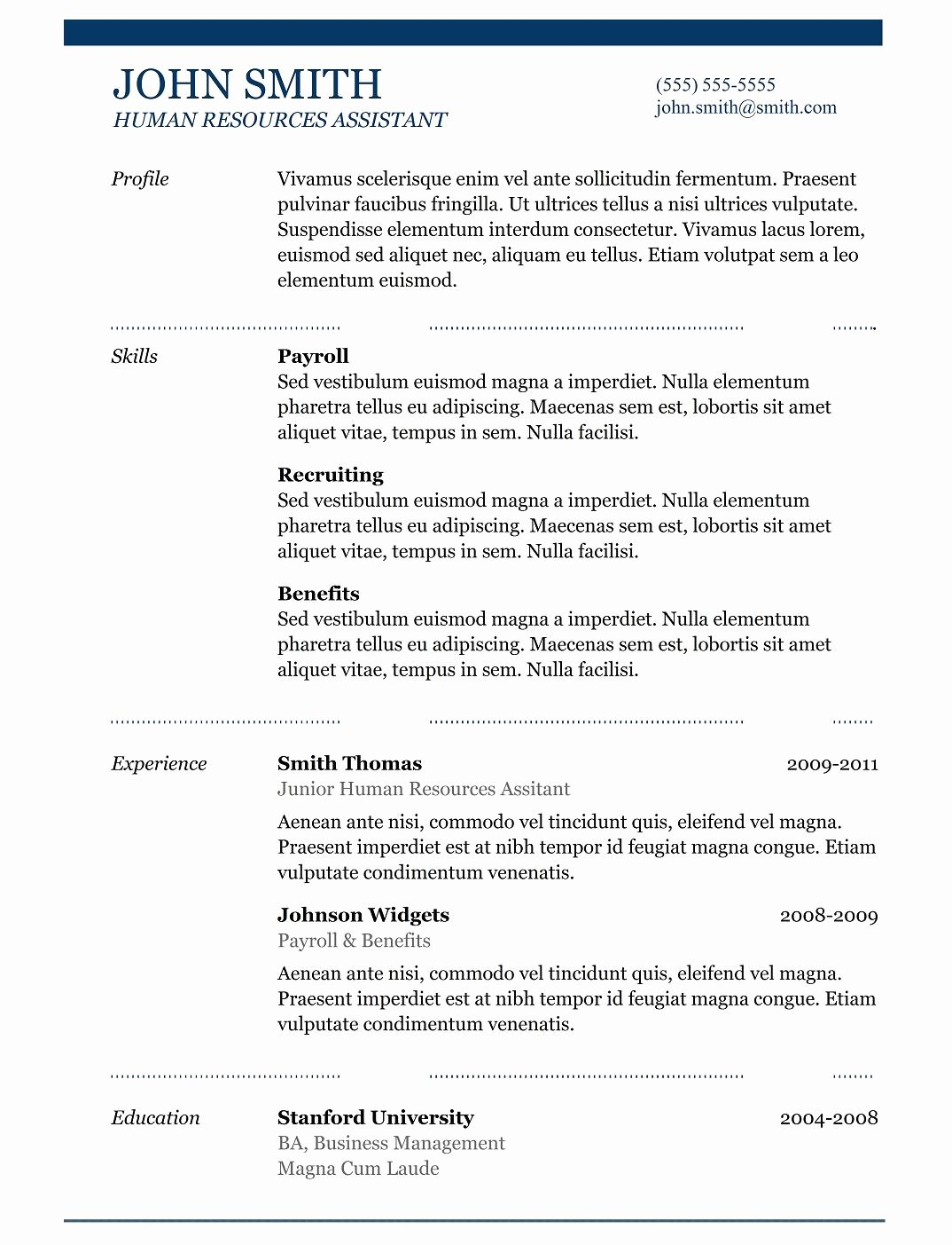 Best Resume format Best Of 5 Best Samples Resume Objective Examples Samples Of Cv