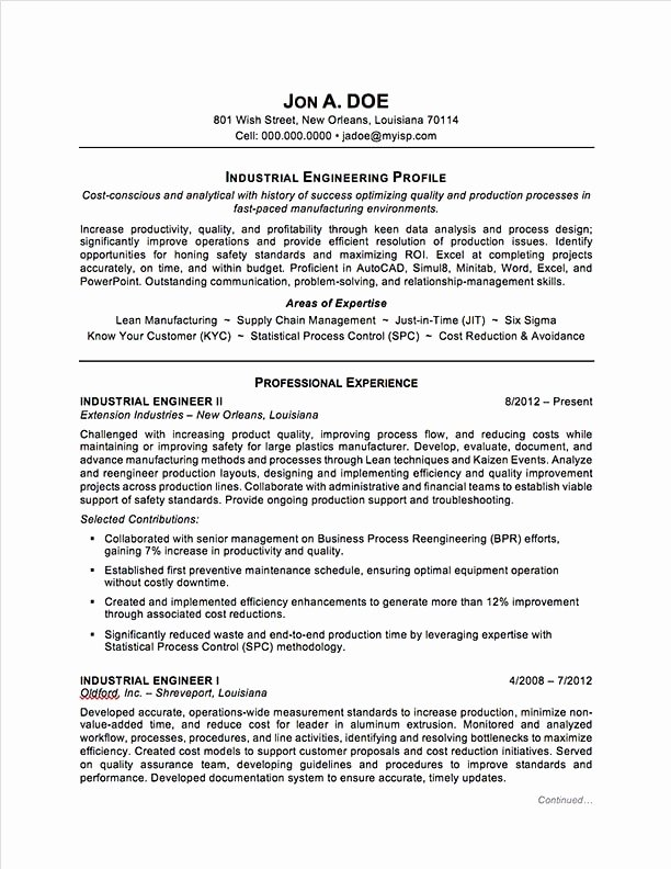 Best Resume format for Engineers Best Of Industrial Engineering Resume Sample