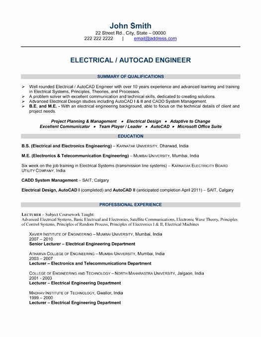 Best Resume format for Engineers Elegant 10 Best Best Electrical Engineer Resume Templates