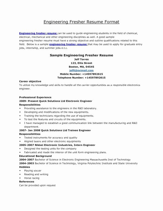 Best Resume format for Engineers Fresh Best Resume format Mechanical Engineers Pdf Best Resume