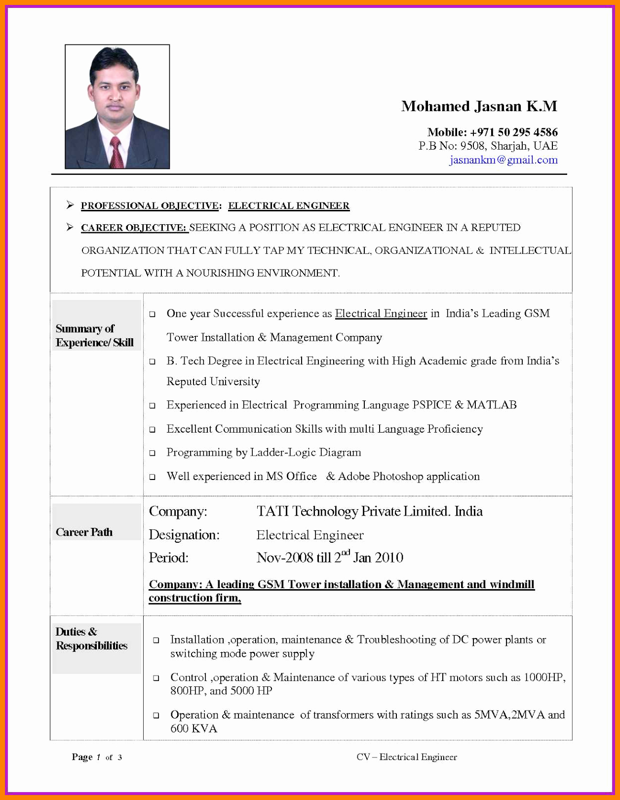 Best Resume format for Engineers Luxury 11 Cv Template for Electrical Engineer