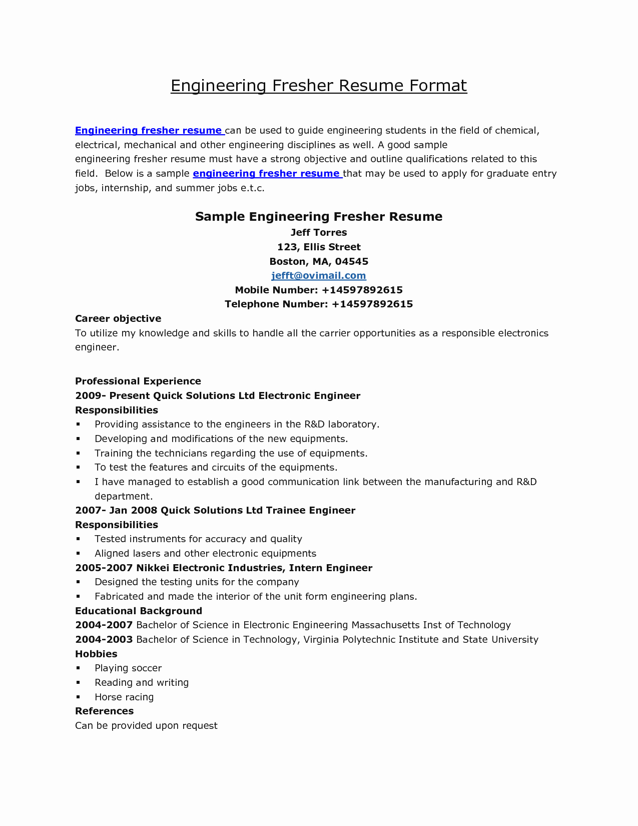 Best Resume format for Engineers Luxury Resume format for Engineering Students