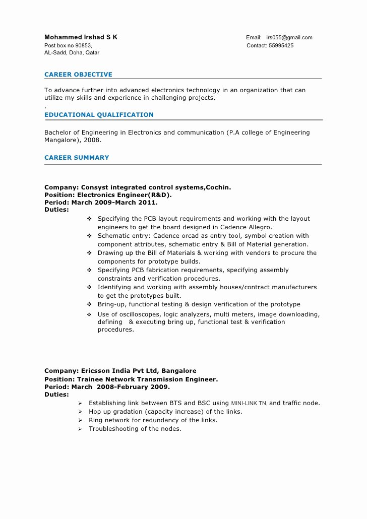 Best Resume format for Engineers New Resume Electronics Engineer 3years Experience