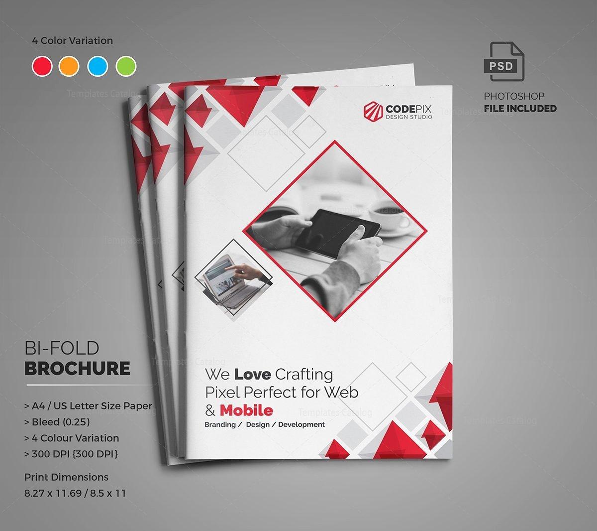 Bi Fold Pamphlet Template Awesome Diamond Modern Bi Fold Brochure Template Template