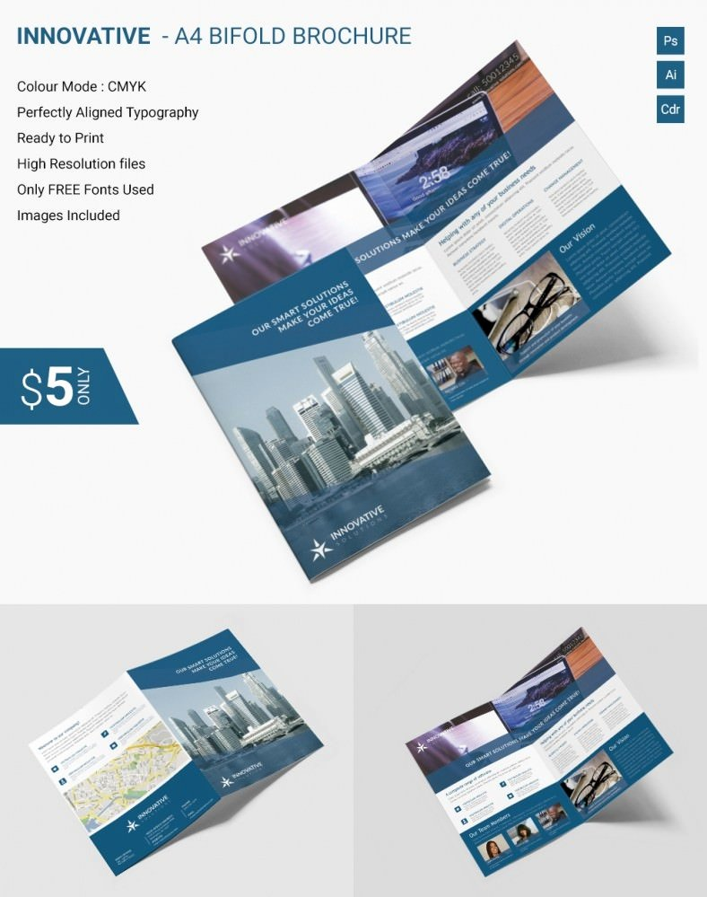 Bi Fold Pamphlet Template Awesome Elegant Innovative A4 Bi Fold Brochure Template