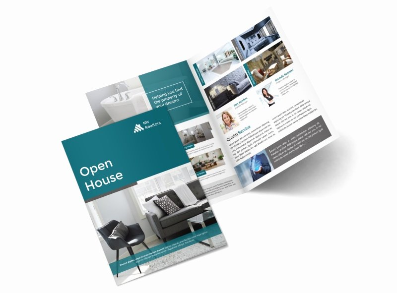 Bi Fold Pamphlet Template Beautiful Teal Open House Bi Fold Brochure Template