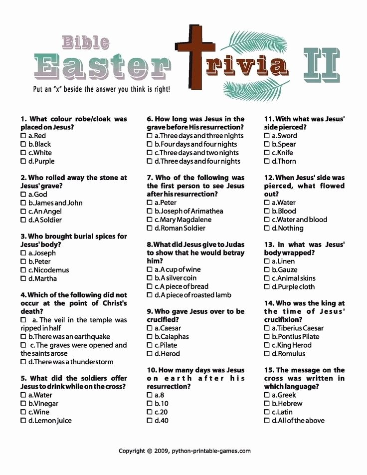 Bible Family Feud Questions Beautiful Easter Bible Trivia Cross Printable Party 2014 Easter