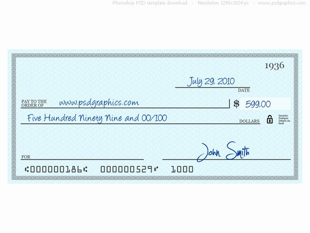 Big Fake Check Template Luxury Blue Check Psd Template