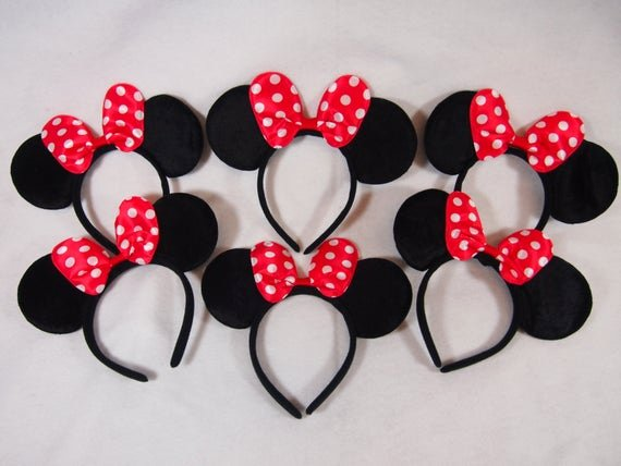 Big Minnie Mouse Bow Elegant 6 Lot Minnie Mouse Polka Dot Red Bow Ears Headbands Bows