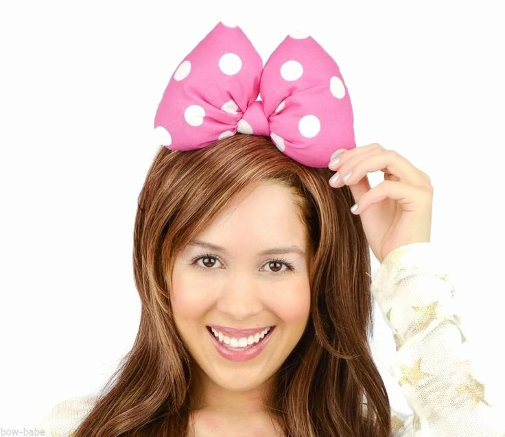 Big Minnie Mouse Bow Inspirational Minnie Mouse Headband Bow Big Pink Polka Dots Woman Teens