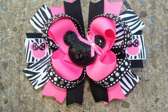 Big Minnie Mouse Bow Lovely Zebra Minnie Mouse Hair Bow Hair Bow Pink and Black