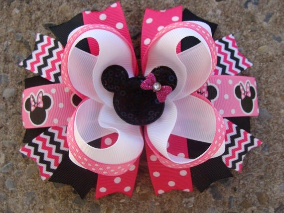 Big Minnie Mouse Bow New Minnie Mouse Hair Bows Hair Bow Pink and Black Minnie