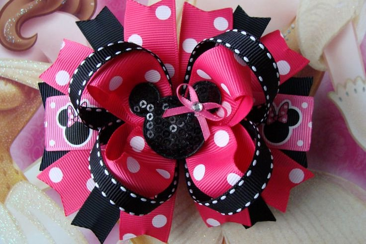 Big Minnie Mouse Bow Unique Minnie Mouse Hair Bow Hair Bow Pink and Black