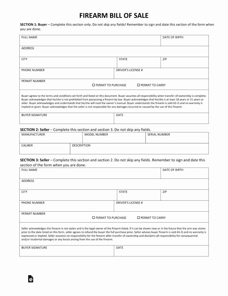 Bill Of Sale Firearms Elegant Free Maine Firearm Bill Of Sale form Pdf