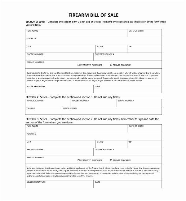 Bill Of Sale Firearms New Free 10 Sample Bill Of Sale for Firearms