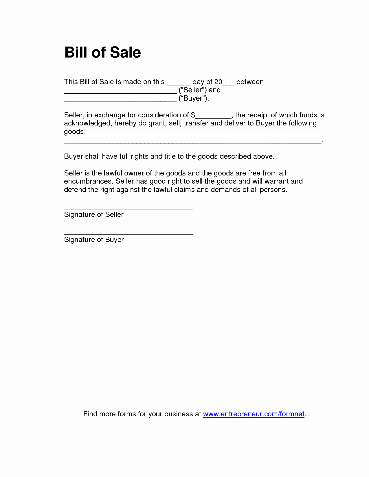 Bill Of Sale Printable Template Beautiful Free Printable Bill Of Sale Templates form Generic